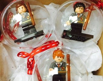 Set of 8 Harry Potter Minifigure Christmas Baubles, Fits Lego, Free Owl Post Gift Wrap, Harry Potter Gift