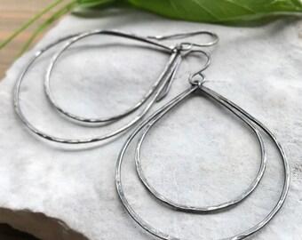 Large Silver Teardrop Earrings, Boho Hoop Earrings, Oxidized Sterling Silver Double Teardrops