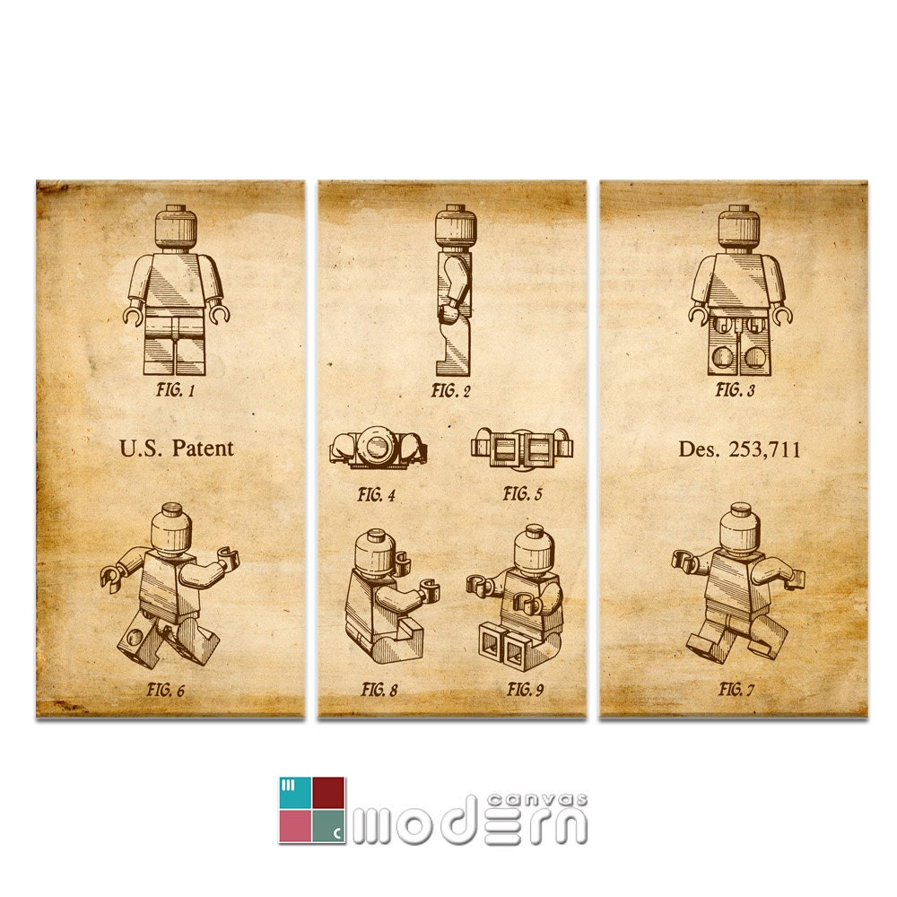 Lego Man Blueprint Patent Design Triptych Canvas Giclee