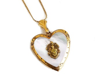 "Vintage Heart Locket - 1940s 10k Gold Filled Mother of Pearl Soldier Heart Pendant 18"" GF Necklace"