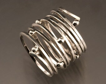 Sterling Silver Wide Wrapped Ring, Order in your size.