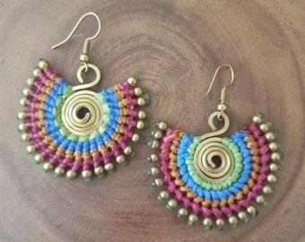 Tribal earrings, Colorful drop earrings