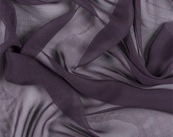 Aubergine Silk Chiffon, Fabric By The Yard