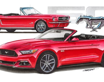 1965 / 2015 Mustang 50 12x24 inch Art Print by Jim Gerdom