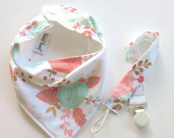 Bandana Bib and Pacifier Clip in Coral and Mint Floral. Bandana Bib. Soother Clip. Floral Baby Girl Gift Set. Baby gifts under 20.Floral bib