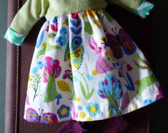 Blythe Dress Set For Spring - Green Hares Dress And Socks