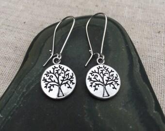 Silver Tree Earrings Tree of LIfe Jewelry Simple Everyday Tree Jewelry Fall Autumn Earrings