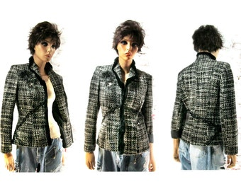 Altered couture clothing , Black and white jacket , embellished blazer , women's  OOAK clothing , Size 8 ,   # 126