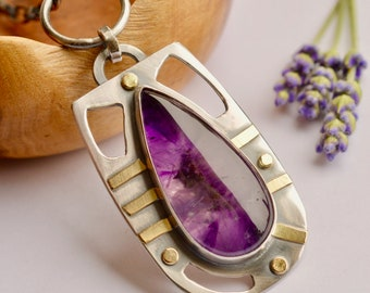 Amethyst Gold and Silver Necklace, Modern Style, Oxidized Silver, Handmade Silver and Gold Pendant, One of a Kind Metalwork, Artisan Jewelry