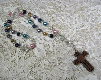 Anglican Prayer Beads-Rosary-Multi color-Wood Cross