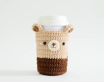 Crochet Cozy Cup - The Bear / Coffee Cozy, Coffee Warmer, Tea or Coffee Lover Gift, Coffee Sleeve, Starbuck.