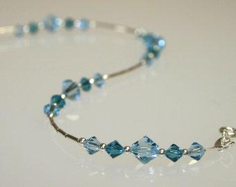 Sterling Silver and Aquamarine Swarovski Crystal Bracelet
