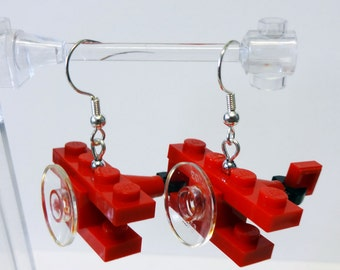 Custom Red Bi-Plane Earrings