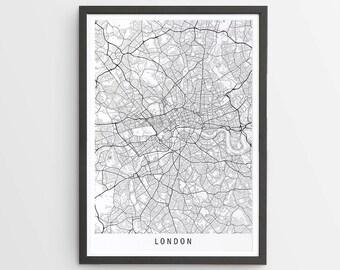 London Map Print - Minimalist Map / UK / United Kingdom / England / City Print / Maps / Giclee Print / Poster / Framed