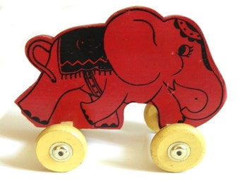 Vintage Wood Red Elephant Pull Toy on Wheels