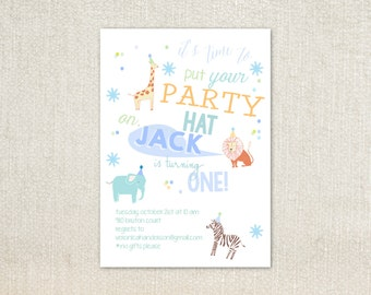 Circus animal party hat birthday party invitations