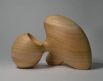 Abstract Wood Sculpture - Butoh Tripod No.2 - Carved From Mendocino Cypress With Hand Tools - Duotone, Smooth, Modern, Natural, Freestanding