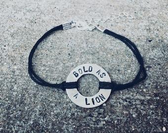 Bold as a lion washer bracelet