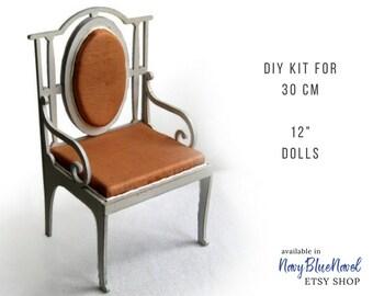 "ARMCHAIR for 30cm 12"" doll, PRE-ORDER diy doll furniture kit dollhouse furniture self assembly laser cut unpainted flatpack bjd seat Blythe"