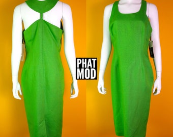 Bright Vintage 90s Green Linen Spring Summer Midi Dress with Unique Back Cutout - DEADSTOCK