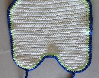 Baby Bib Cotten - White Blue Green