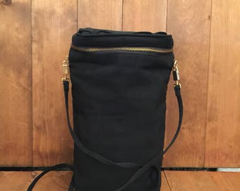 Vintage SALVATORE FERRAGAMO Black Nylon Bucket Crossbody Shoulder Bag