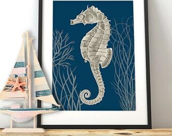 Silver Grey Seahorse Print on Blue 2, Nautical print beach house decor wall nautical decor, bathroom decor wall hanging wall art coastal