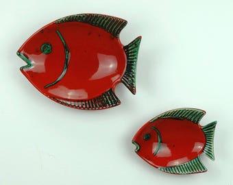 2 WALL CERAMICS bowl fish gmundner keramik 60s