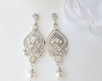 Bridal Earrings, Chandelier Earrings, Pearl Drop Wedding Earrings, Pearl Rhinestone Earrings, Vintage Style, Bridal Jewelry, Grace