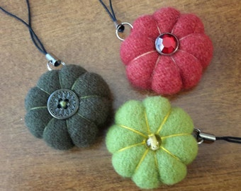 Handmade -- Scissor Fob Pincushion -- Tiny Felted Wool Pincushion -- Stuffed with Crushed Walnut Shells