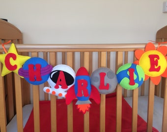 New Felt Space Banner with Personalised Name for Nurseries and Bedrooms