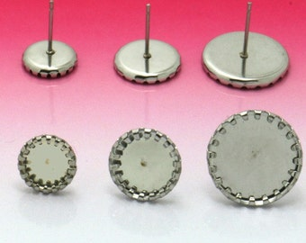 100 316L Stainless Steel Post Earring W/ Scroll Edged 8mm/ 10mm Round Bezel Setting Wholesale Earring Base Hypo-Allergenic Stud Earrings