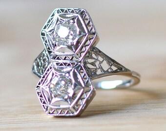 0.70 Carat Art Deco Diamond Ring - Vintage 1920s Engagement Ring With Diamonds - Diamond Art Deco Engagement Ring - 1920s Diamond Ring
