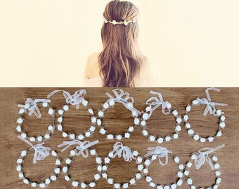 10 White Ribbon Flower Crowns, Bridesmaid Flower Crown, Romantic Crowns, Flower Headbands, Ribbon Flower Headband, Fast Shipping