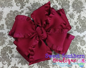 Burgundy Wine Double Ruffle Bow