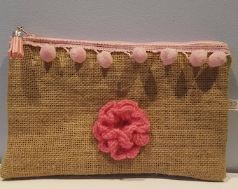 Small clutch made of burlap