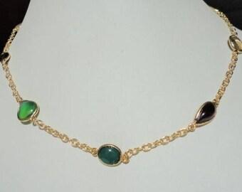 multi stone necklace - gold vermeil - semiprecious - colorful - chain necklace - unique for women - multi stone jewelry - 17 inch long