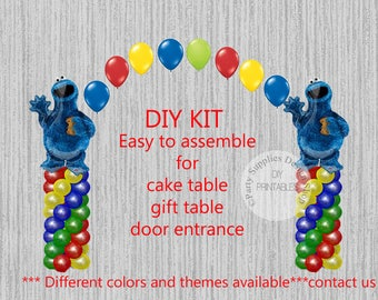 Cookie Monster Sesame Street Birthday Balloons, Cookie Monster Cake Table, Gift Table, Entrance Party Decorations, DIY KIT easy to assemble