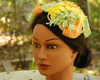 Vintage 50s Floral Facinator Hat/Spring/Summer/Wedding/Retro/Mid Century/High Fashion