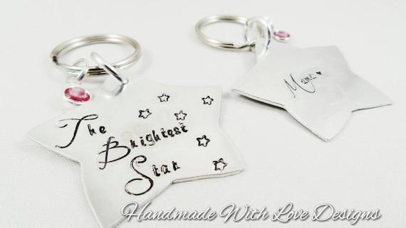 Memorial Star Hand Stamped Keyring