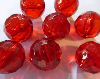 Vintage Red Faceted Round Lucite Beads 20mm (10)