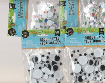 Crafting Supplies - 500 Googly Eyes, black & white, color - new NIP 4 bags - stickers for card making, scrapbooking, making plush