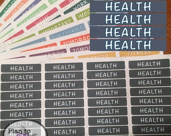 Health Header Stickers (40) made for 2017-18 Erin Condren Life Planner and Happy Planner
