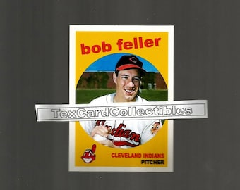 Bob Feller Cleveland Indians New, Custom Made 1959 Style Baseball Card.  3 1/2 x 2 1/2. Mint Condition.