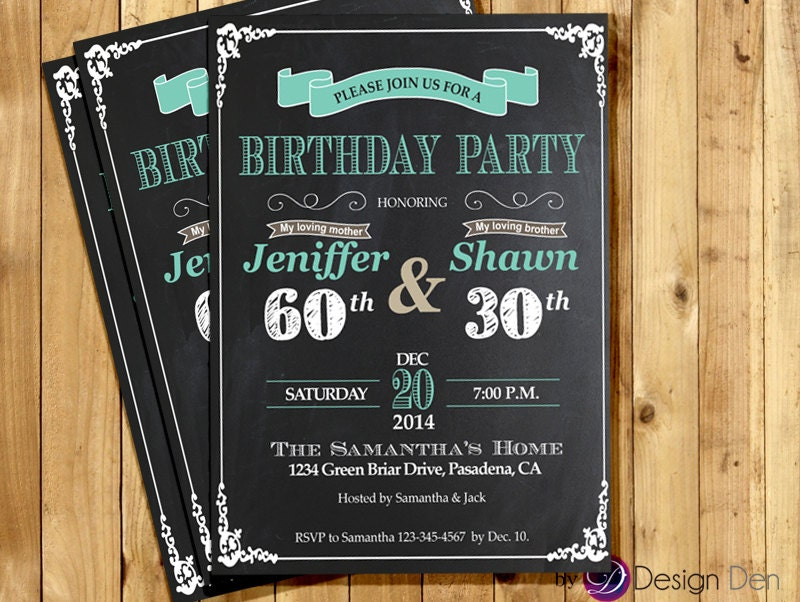 Adult Joint Birthday InvitationJoint party invitationCmbined