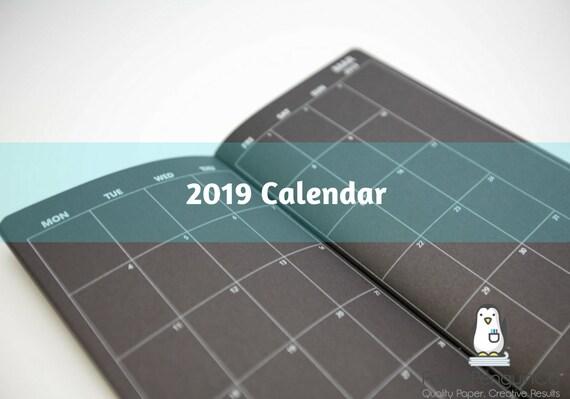 2019 Monthly Calendar Black Midori Insert Regular A5 B6 Wide A6 Personal Pocket FN Passport 12 Month Plain Kraft Brown Traveler's Notebook
