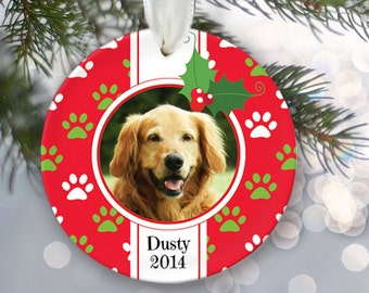 Family Pet Ornament Dog Ornament Cat Ornament Personalized Christmas Ornament Paw print Name and Date Custom Pet Gift Photo Ornament OR195