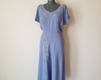Vintage Late 1940's Periwinkle Blue Dress XL