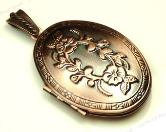 52x27mm Embossed Copper Plated Brass Oval Photo Locket - 1pc - BH11