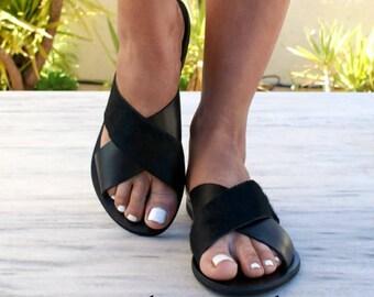 ERIS 2 sandals/ ancient Greek leather sandals/ slide sandals/ pony hair sandals/ handmade sandals/ black sandals/ criss cross sandals